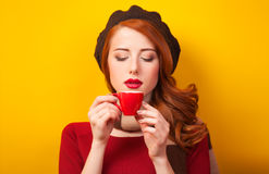 Girl with red cup Stock Photo