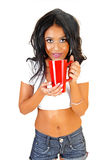 Girl with red cup. Royalty Free Stock Images