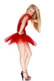 Girl in red dress Stock Image