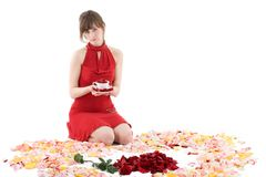 Girl in red dress Stock Image