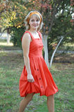 The girl in a red dress 2 Stock Photo