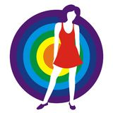 Girl in a red dress. Silhouette of the girl in a red dress on a background of a circle of colors of a rainbow. Figure is isolated on a white background Stock Photo