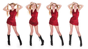 The girl in a red dress Stock Photos