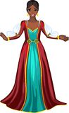 Girl in red dress. African Woman in mediaeval red dress Stock Photo