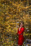 Girl red dress Stock Photography