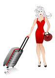 Girl in a red dress with a bag and a suitcase Royalty Free Stock Images