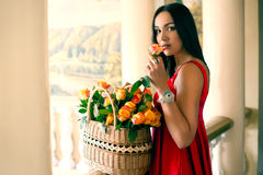 Girl in a red dress with a basket of roses Royalty Free Stock Photography