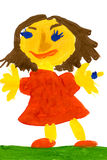 Girl in a red dress. child drawing. Royalty Free Stock Photography