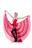 Girl in red dress dancing Stock Photo