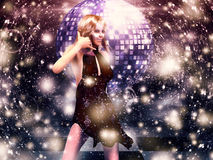 Girl in red dress on disco Stock Images