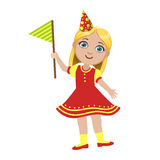 Girl In Red Dress With Flag, Part Of Kids At The Birthday Party Set Of Cute Cartoon Characters With Celebration. Attributes. Adorable Child Celebrating And Royalty Free Stock Image