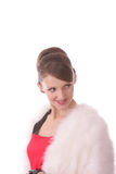 Girl in red dress and fur coat Royalty Free Stock Image