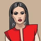 Girl in red dress. Illustration Stock Image