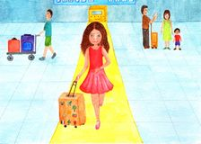 Girl at the airport is boarding a plane. Watercolor illustration. Girl in a red dress goes on boarding a plane. Traveling begins stock images