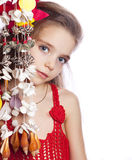 Girl in a red dress isolated Royalty Free Stock Image