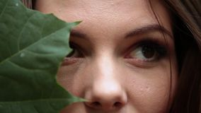 A girl in a red dress with a large leaf of a green maple on her face. stock video footage