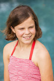 Girl Red Dress Pool Royalty Free Stock Photos