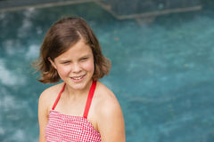Girl Red Dress Pool Royalty Free Stock Photography