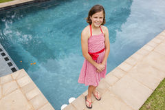 Girl Red Dress Pool Royalty Free Stock Photo
