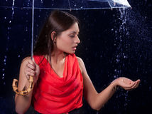 Girl in a red dress in the rain Royalty Free Stock Image
