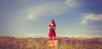 Girl in red dress with suitcase and camera on the meadow Stock Photography