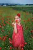 Girl in red dress walks at poppy field Stock Image