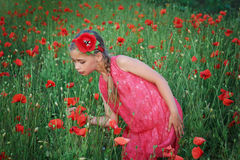 Girl in red dress walks at poppy field Royalty Free Stock Photos