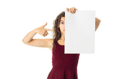 Girl in red dress with white placard Stock Photography
