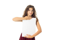 Girl in red dress with white placard Royalty Free Stock Photos