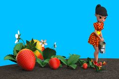 Girl watering strawberries. The girl in the red dress in yellow polka dot watering a flower bed with strawberries from a metal watering can. 3D illustration Stock Images