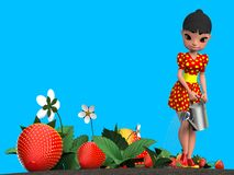 Girl watering strawberries. The girl in the red dress in yellow polka dot watering a flower bed with strawberries from a metal watering can. 3D illustration Stock Photo