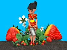Girl watering strawberries. The girl in the red dress in yellow polka dot watering a flower bed with strawberries from a metal watering can. 3D illustration Stock Photos