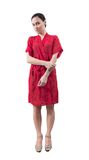 Girl in red dressing gown stock images