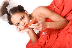 Girl & Red Drink Stock Image
