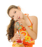 Girl with red drink Stock Photos