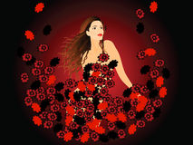 Girl and red flowers Royalty Free Stock Photos