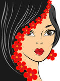 Girl with red flowers Royalty Free Stock Images