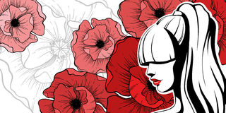 Girl with red flowers. Graphic girl with red poppies flowers. Vector illustration Stock Photo
