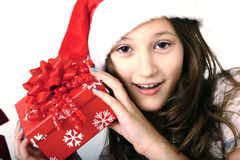 Girl and red gift Royalty Free Stock Image