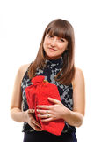 A girl with red gift box Royalty Free Stock Photos
