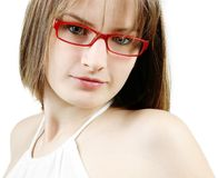 Girl with red glasses Stock Photo