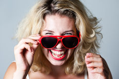 Girl in red glasses Royalty Free Stock Photos