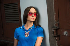 Girl in red glasses and blue shirt Stock Photos