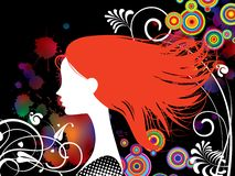 Girl with red hair vector illustration