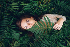 Girl with red hair in an armful of ferns. Women with red hair in an armful of ferns Stock Image