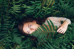 Girl with red hair in an armful of ferns. Women with red hair in an armful of ferns Stock Photography