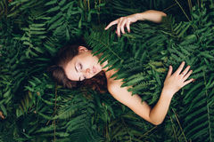 Girl with red hair in an armful of ferns. Women with red hair in an armful of ferns Stock Photos