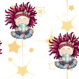 A girl with red hair. Baby with a mug. isolated on white background. seamless pattern stock illustration