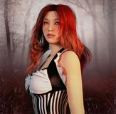 Girl with red hair. 3D illustration of a girl with red hair in forest background Royalty Free Stock Photo