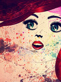 Girl with red hair and green eyes vector illustration